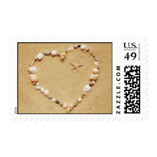 Seashell Heart with Starfish Postage