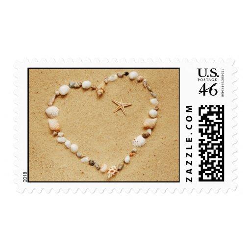 Seashell Heart with Starfish Postage
