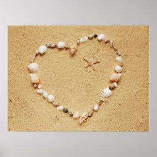 Seashell Heart with Starfish Poster