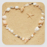 Seashell Heart with Starfish Square Sticker
