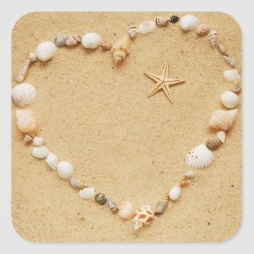 Valentines Themed Seashell Heart with Starfish Square Sticker