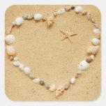 Seashell Heart with Starfish Sticker