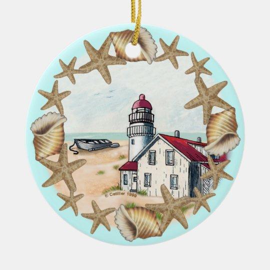 Seashell Lighthouse custom name Ceramic Ornament