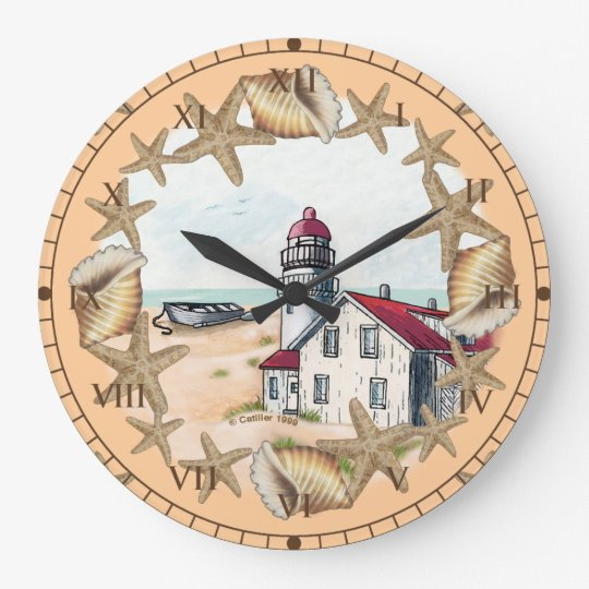 Seashell Lighthouse Large Clock