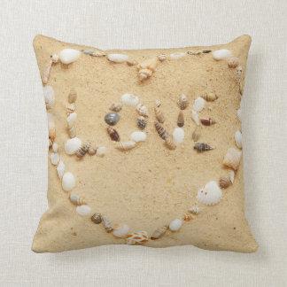 Seashell Love Heart Throw Pillow