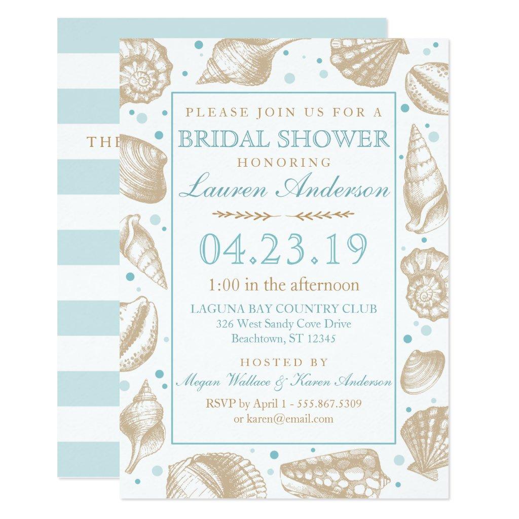 Seashell Nautical Beach Wedding | Bridal Shower Invitation