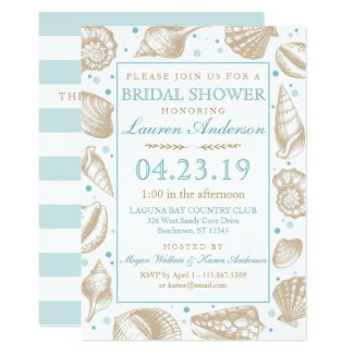 Seashell Nautical Beach Wedding | Bridal Shower Invitation