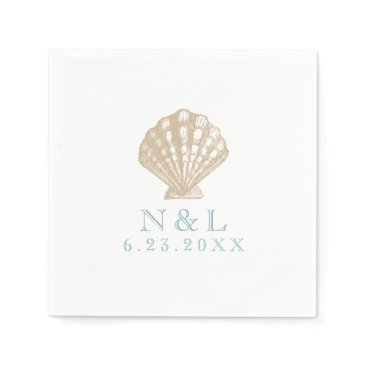 Beach Themed Seashell Nautical Beach Wedding | Bridal Shower Napkin