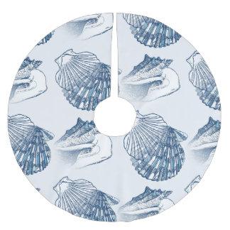 Seashell Nautical Pattern Navy Blue Brushed Polyester Tree Skirt