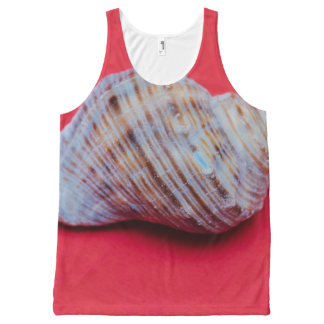 Seashell on a red background All-Over-Print tank top