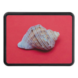 Seashell on a red background hitch cover