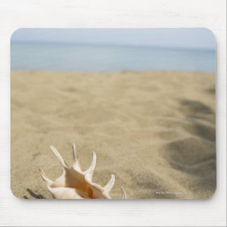 Seashell on sandy beach mouse pad