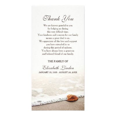 Beach Sympathy Thank You Memorial Photo Card | Zazzle