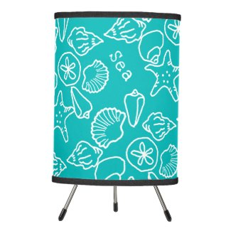 Seashell Outlines Pattern Turquoise Sea Life Tripod Lamp