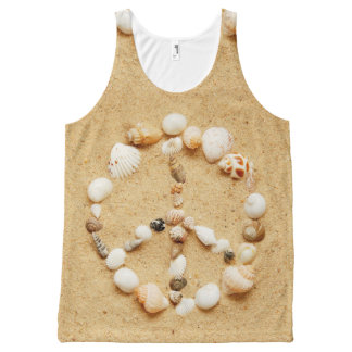 Seashell Peace Sign All-Over Print Tank Top