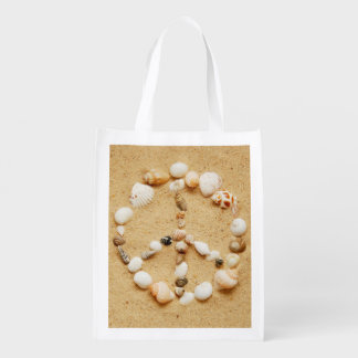 Seashell Peace Sign Grocery Bags