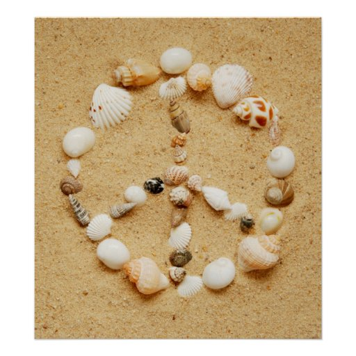 Seashell Peace Sign Poster