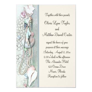 WeddingCentral Seashell Pearls Elegant Beach Wedding Card