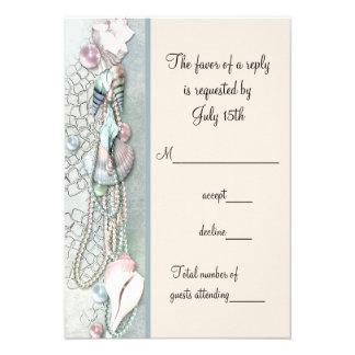 Seashell Pearls Elegant Beach Wedding RSVP Personalized Invitation