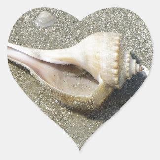 Seashell Pegatina De Corazón