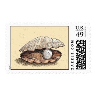 Seashell perfecto de la perla franqueo