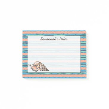 Beach Themed Seashell Personalized Post-it Notes