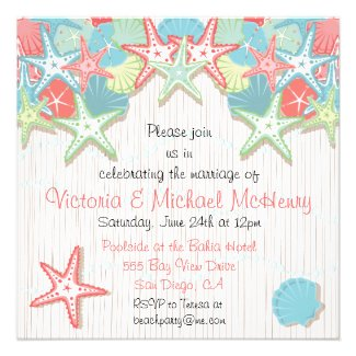 Seashell Post Wedding Reception Party Invitations