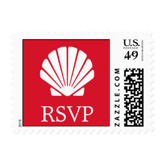 Seashell Postage Stamp (RSVP Dark Red)