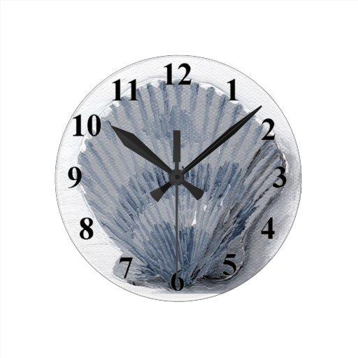 Seashell round clock zazzle for Seashell clock