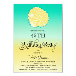 Seashell Sand and Sea Color Ombre Birthday Party Card