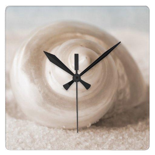 Seashell sand beach tropical shells template square wall for Seashell wall clock