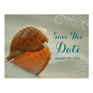 Seashell Save the Date Wedding Post Card