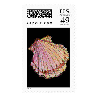 SEASHELL SCALLOP by SHARON SHARPE Postage Stamp