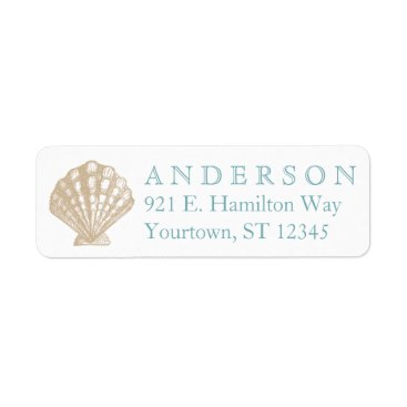 Beach Themed Seashell Scallop Tan/Aqua Beach Return Address Label