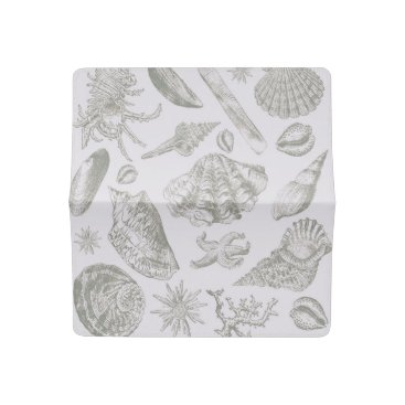Beach Themed Seashell Shore House Art Print Vintage Drawing Checkbook Cover