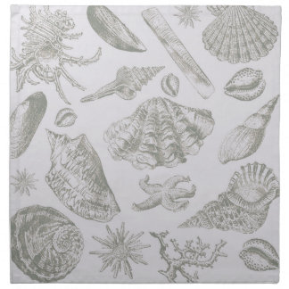 Seashell Shore House Art Print Vintage Drawing Cloth Napkin