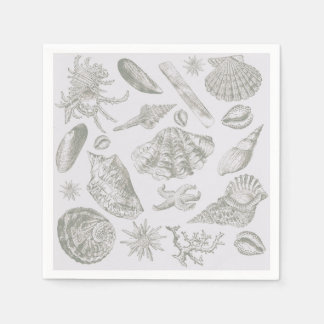 Seashell Shore House Art Print Vintage Drawing Napkin