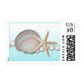 Seashell Starfish and Pearls Postage