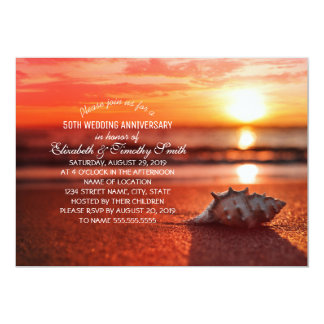 Seashell Sunset Beach Wedding Anniversary Party Card