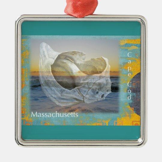 Seashell & Surf - Cape Cod Massachusetts Metal Ornament
