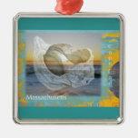 Seashell & Surf - Cape Cod Massachusetts Christmas Ornament