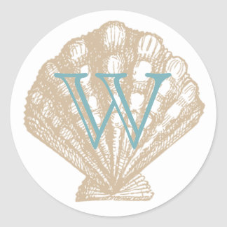 Seashell | Tan Scallop Sea Shell Monogram Classic Round Sticker