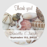 Seashell Treasures Personalized Round Label Round Sticker