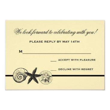 Beach Themed Seashell Treasures Wedding Response Card