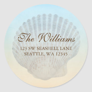 Seashell Tropical Beach Address Label Classic Round Sticker