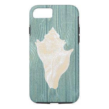 Beach Themed Seashell Vintage Aqua Wood Beach iPhone 7 Case