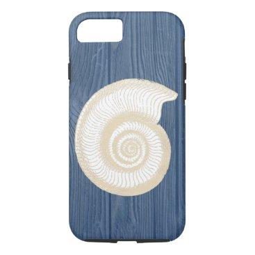 Beach Themed Seashell Vintage Blue Wood Beach iPhone 7 Case