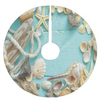 seashell, vintage, collage, turquesa, moda, de falda para arbol de navidad de poliéster