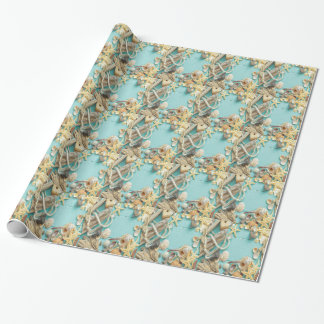seashell, vintage, collage, turquesa, moda, de papel de regalo