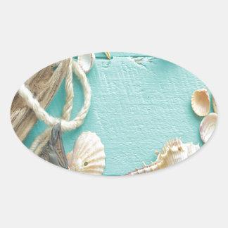seashell, vintage, collage, turquesa, moda, de pegatina ovalada